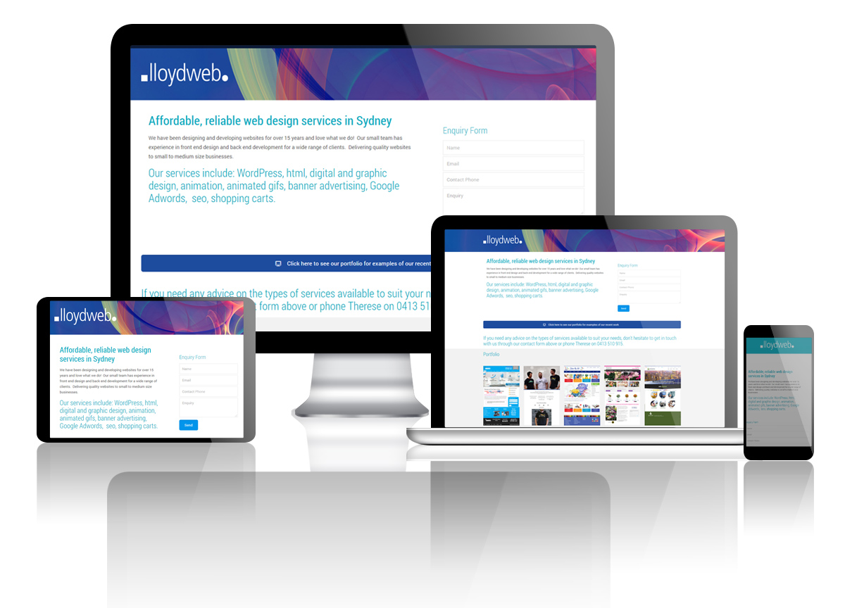 Fully responsive web design - desktop mobile tablet