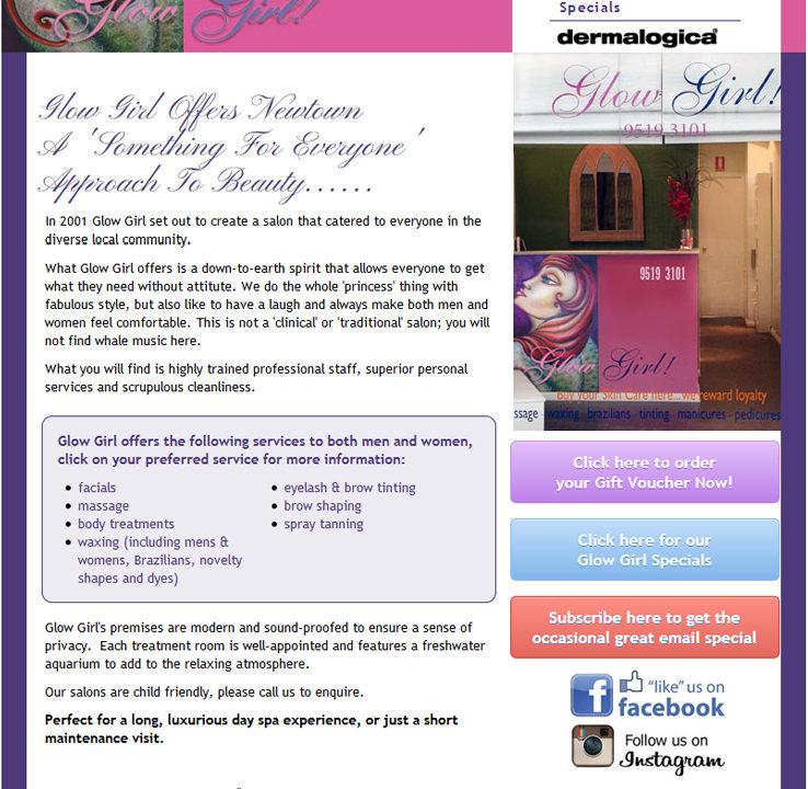 Glow Girl salon Newtown - LloydWeb Portfolio Therese Lloyd